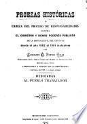 Proezas históricas ó Cabeza del proceso de responsabilidades contra el gobierno y demás poderes públicos de la República O. del Uruguay desde el año 1882 al 1891 inclusives