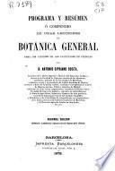 Programa y resúmen o compendio de unas lecciones de botánica general