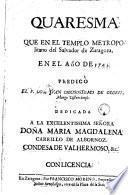Quaresma que en el templo metropolitano del Salvador de Zaragoza en el año 1743