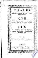 Reales ordinaciones de la Isla y Real Fuerça Iviza que saca a la luz...