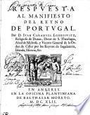 Respvesta Al Manifesto Del Reyno De Portugal