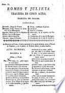Romeo y Julieta. Tragedia en cinco actos [and in verse]. Traducida del Frances [of J. F. Ducis, by D. Solis].