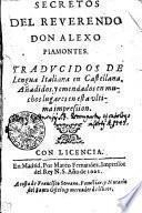 SECRETOS DEL REVERENDO DON ALEXO PIAMONTES