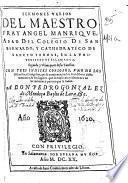 Sermones varios del maestro fray Angel Manrique, abad del Colegio de San Bernardo ...