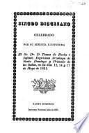 Sinodo diocesano celebrado por ... el Sr. Dr T. de Portes é Infante ... Arzobispo de Santo Domingo ... en los dias 12, 14 y 17 de Mayo de 1851