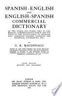 Spanish-English and English-Spanish, Commercial Dictionary