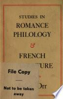 Studies in Romance Philology and French Literature