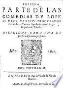Trezena parte de las comedias de Lope de Vega Carpio