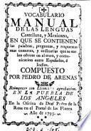 Vocabulario manual de las lenguas castellana, y mexicana